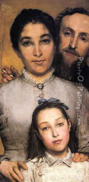 Portrait of Aime-Jules Dalou, his Wife and Daughter Oil Painting - Sir Lawrence Alma-Tadema
