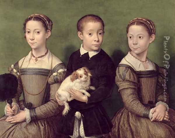 Two Sisters and a Brother of the Artist Oil Painting - Sofonisba Anguissola
