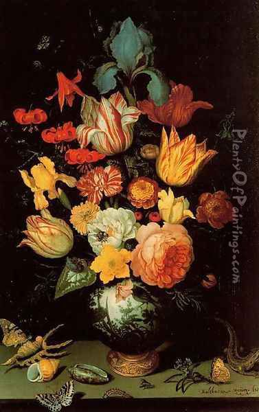 Chinese Glass with flowers, shells and insects Oil Painting - Balthasar Van Der Ast