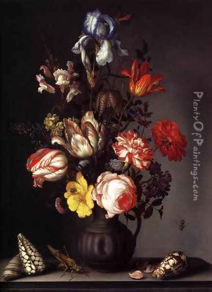 Flowers in a Vase with Shells and Insects Oil Painting - Balthasar Van Der Ast