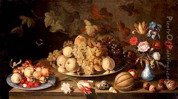 Grapes and pears on a pewter plate, with apples, cherries and grapes on a Wanli plate, flowers in a vase and a melon, nuts and shells on a tabletop Oil Painting - Balthasar Van Der Ast
