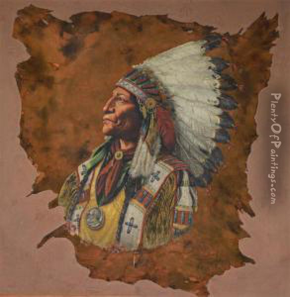 Chief Wolf Robe Oil Painting - William Mckendree Snyder