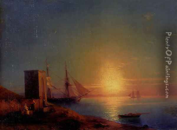 Figures In A Coastal Landscape At Sunset Oil Painting - Ivan Konstantinovich Aivazovsky
