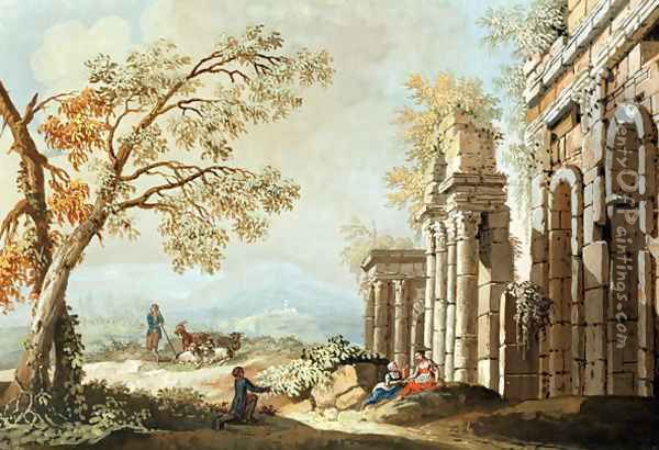 A Shepherd with Goats and other Figures amongst Classical Ruins (early 18th) Oil Painting - Anonymous Artist