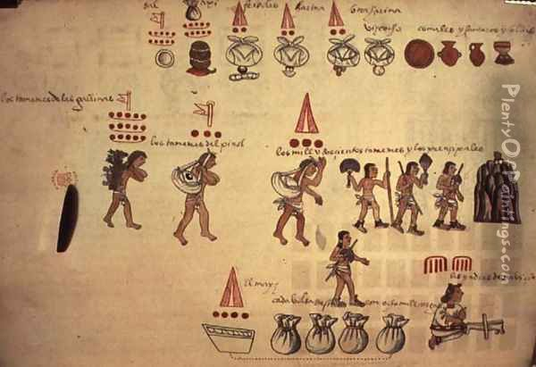 Codex Kingsborough representation of the Ecomienda System, Honduras, 600-800AD Oil Painting - Anonymous Artist