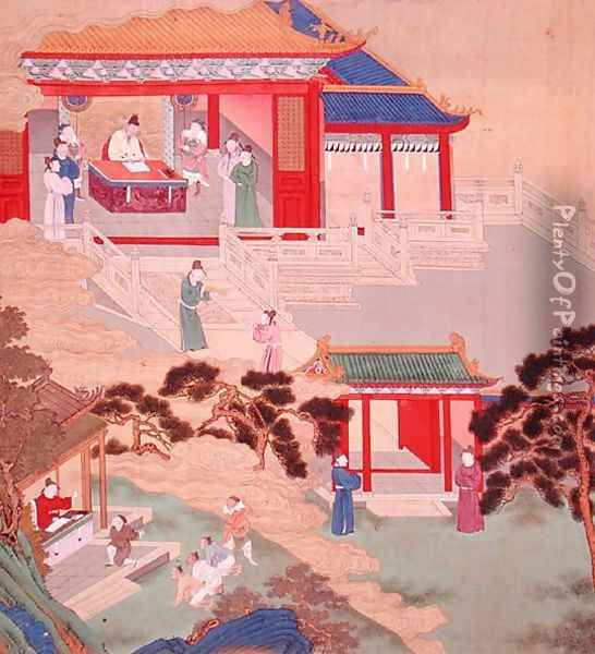 Emperor Tai Tsung (r.762-779) reading a medical tome, from a history of Chinese emperors Oil Painting - Anonymous Artist