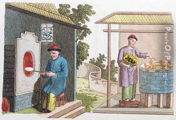 Firing of porcelain in China at the end of the 18th century, from 'La Chine en Miniature' 1811 Oil Painting - Anonymous Artist