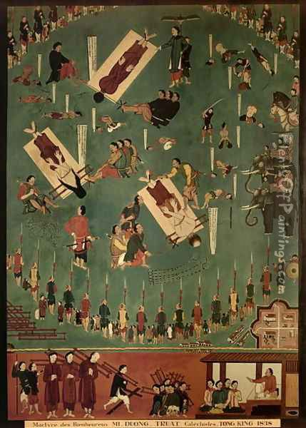The Martyrdom of the Blessed Mi, Duong and Truat at Tongking, China, in 1838 Oil Painting - Anonymous Artist
