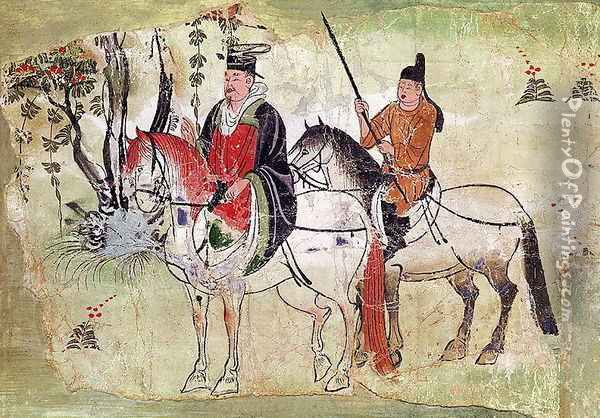 Two Horsemen in a Landscape or, The Boddhisatva and his Equerry, Tang Period Oil Painting - Anonymous Artist