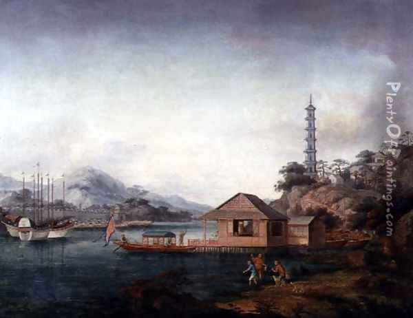 Figures and Vessels before a Pagoda in a Mountainous River Landscape, c.1850 Oil Painting - Anonymous Artist