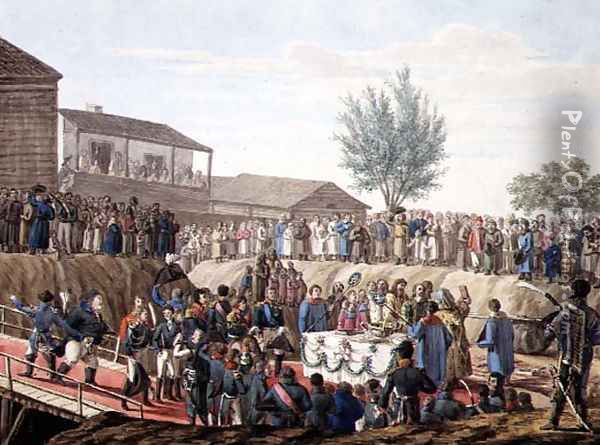 The Laying of the First Stone of the Customs House at Mohiloff in 1820 Oil Painting - Anonymous Artist