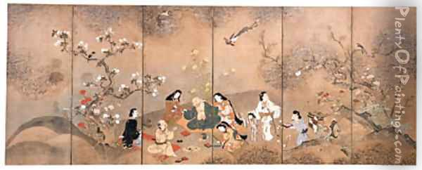 Party under spring blossoms Oil Painting - Anonymous Artist