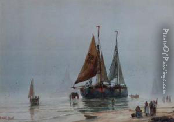 Coastal Views With Various Figures And Shipping Oil Painting - Ernest Stuart
