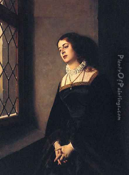 Portrait Of A Lady, Three-Quarter-Length, Wearing Black Robes And Standing Before A Window Oil Painting - Baron Heinrich von Angeli