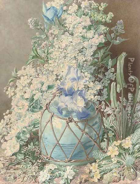 Gladioli, irises, sweet peas, apple blossom, primulas and other spring flowers in an oriental vase Oil Painting - Henry Anelay