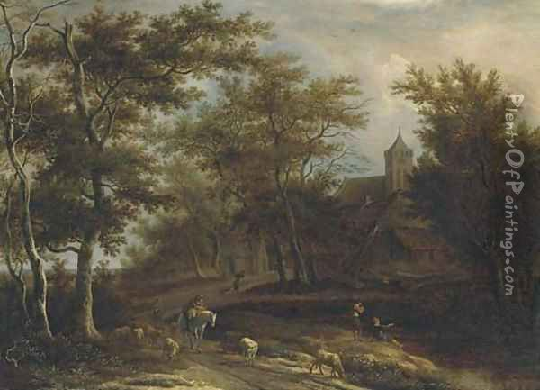 A wooded river landscape with a peasant on horseback, a shepherd with his flock and other peasants fishing outside a village Oil Painting - Pieter Jansz. van Asch