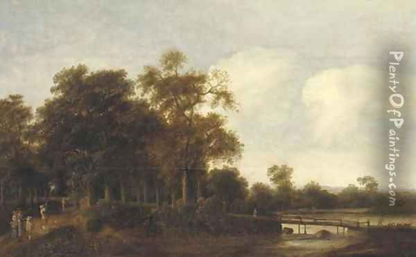 A wooded river landscape with hunters on a path Oil Painting - Pieter Jansz. van Asch