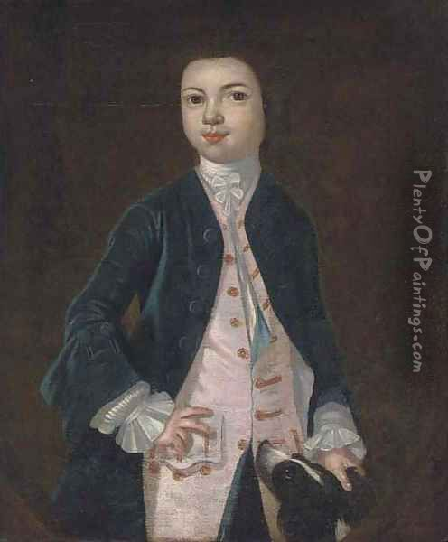 Portrait of a boy in a blue coat and pink waistcoat, a dog at his side, feigned oval Oil Painting - Charles d' Agar