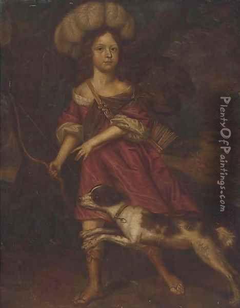 Portrait of a young lady, as Diana the Huntress Oil Painting - Charles d' Agar