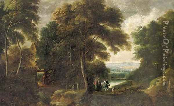 A wooded river landscape with elegant company on a path, with cottage a beyond Oil Painting - Jacques d' Arthois