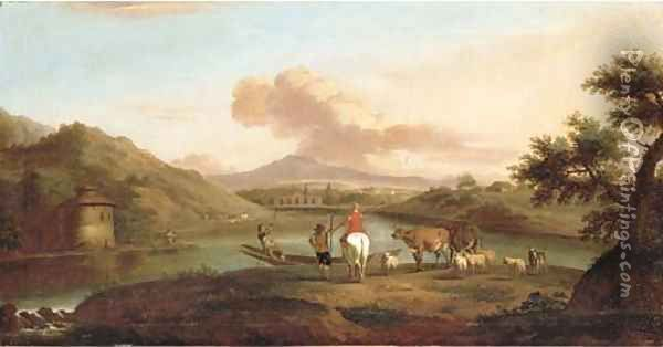 An extensive Italianate river landscape with herdsmen on a bank and a man fishing by a dwelling Oil Painting - Jan Asselyn