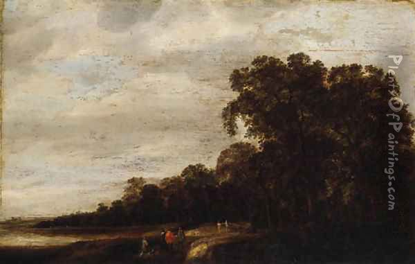 A wooded Landscape with Huntsmen resting on a Track Oil Painting - Pieter Jansz. van Asch