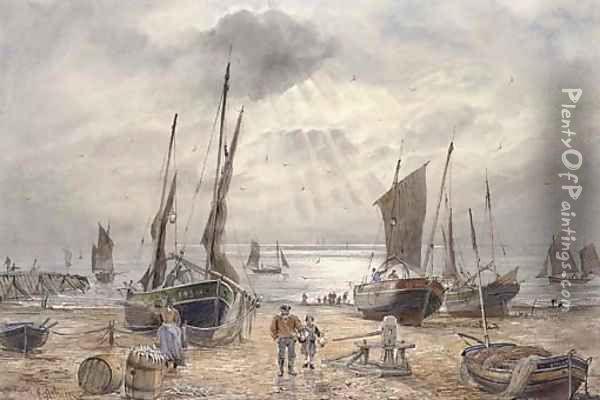 The Shoreham fishing fleet returning at the end of the day Oil Painting - William Edward Atkins