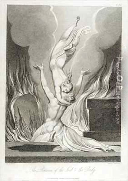 The reunion of the soul and the body (The re-union of soul and body) Oil Painting - William Blake