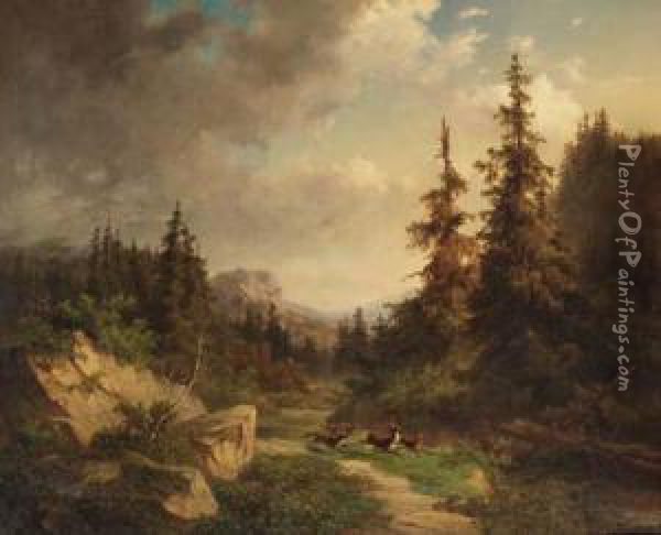 Rocky Woodland With Wolves Chasing A Stag Oil Painting - Willem Jan Van Den Berghe
