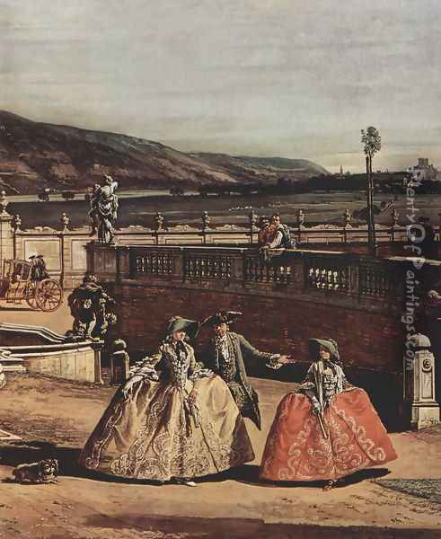 View from Vienna, castle, with the main courtyard view of the castle, detail 2 Oil Painting - Bernardo Bellotto