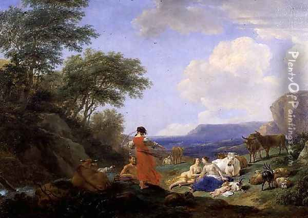 The Infant Jupiter with the Nymphs on Mount Ida 1650 Oil Painting - Nicolaes Berchem