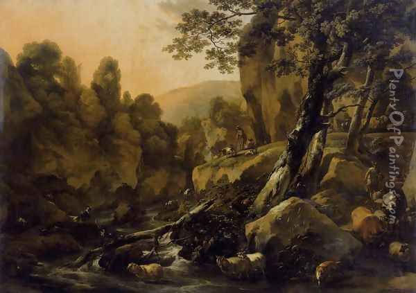 Herdsmen and Herds at a Waterfall c. 1665 Oil Painting - Nicolaes Berchem