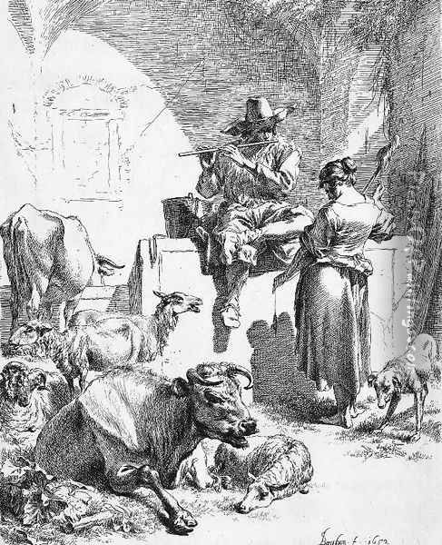 Shepherd at the Well with the Spinning Girl Oil Painting - Nicolaes Berchem