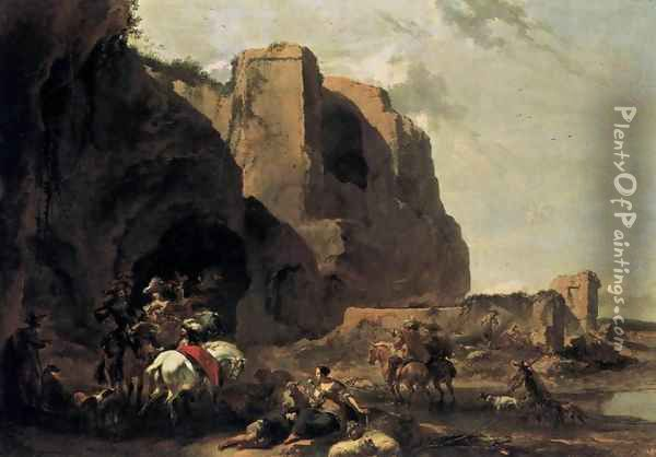 Return from the Falcon Hunt Oil Painting - Nicolaes Berchem