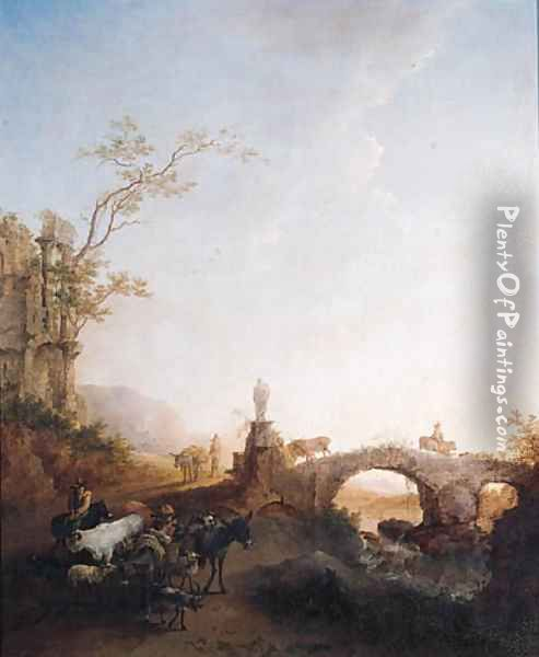 Drivers returning from market on a track by a bridge, in an Italianate landscape Oil Painting - Nicolaes Berchem