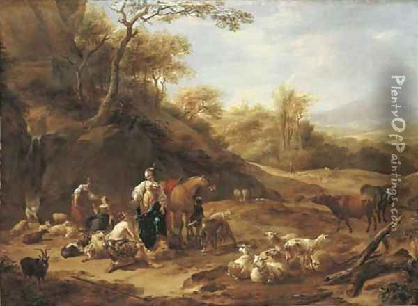 An extensive wooded landscape with the meeting of Granida and Daifilo Oil Painting - Nicolaes Berchem