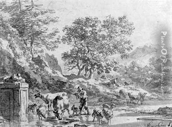 An italianate landscape with herdsman at the fountain Oil Painting - Nicolaes Berchem