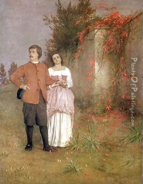 The artist and his wife Oil Painting - Arnold Bocklin