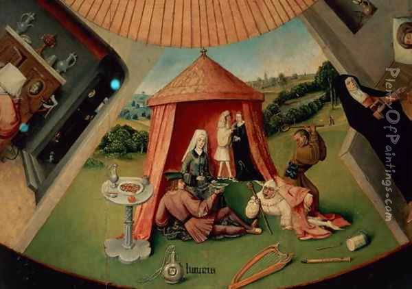 Luxury, detail from The Table of the Seven Deadly Sins and the Four Last Things, c.1480 Oil Painting - Hieronymous Bosch