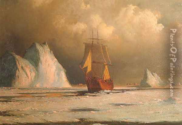 Working Through the Ice in Melville Bay Oil Painting - William Bradford