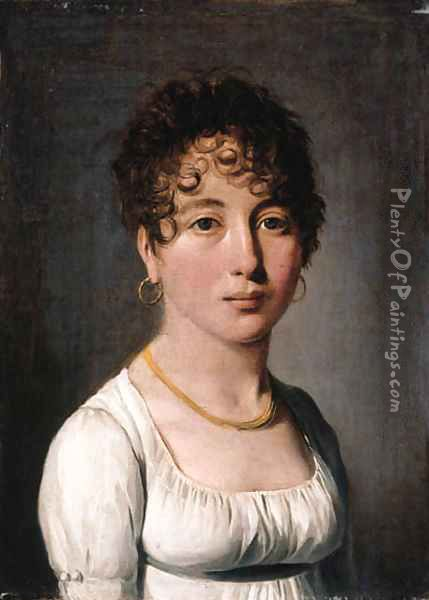 Portrait of a lady, small bust-length, in a white dress and with a gold necklace Oil Painting - Louis Leopold Boilly