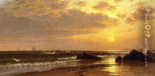 Seascape with Sunset Oil Painting - Alfred Thompson Bricher