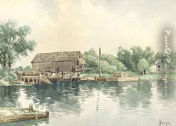 The Boathouse Oil Painting - Alfred Thompson Bricher