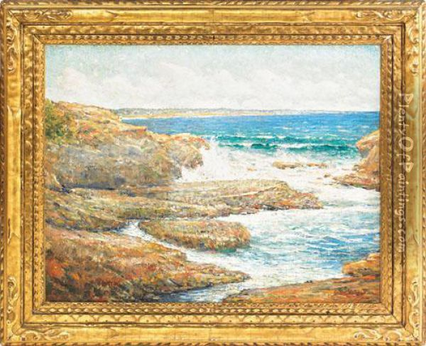 Incoming Tide Ogunquit Maine Oil Painting - Cullen Yates