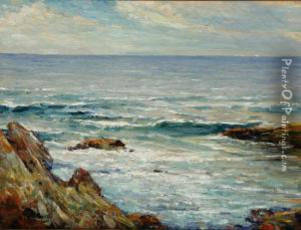 View Of The Coast Oil Painting - Cullen Yates