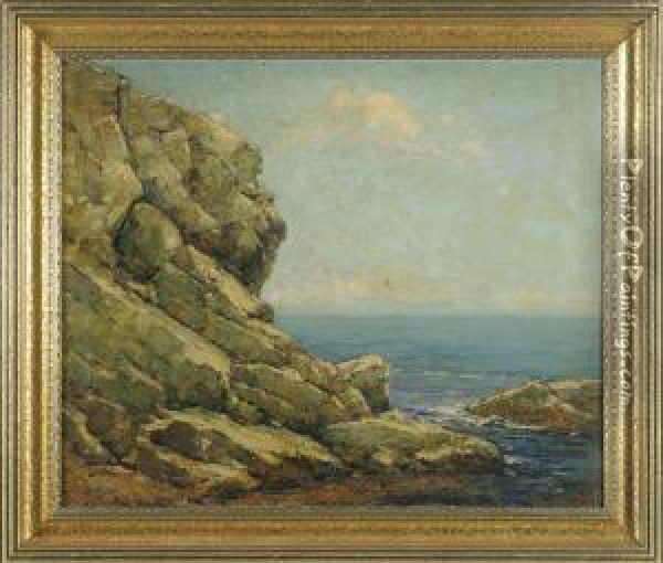 Rocky Coastal Scene With Calm Waters In The Distance Oil Painting - Cullen Yates