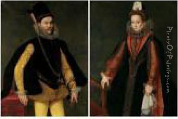 Portrait Of A Nobleman,  Three-quarter Length Standing, Wearing A Ruff And A Hat, And Holding  Gloves Oil Painting - Sofonisba Anguissola