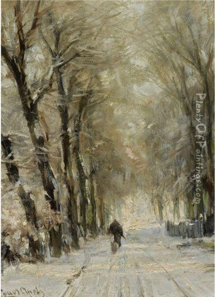 Figure On A Snowy Lane In The Haagse Bos Oil Painting - Louis Apol