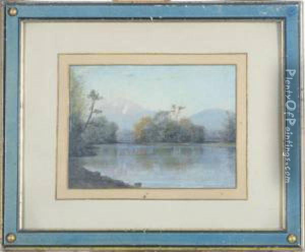 Androscoggin River View From Lead Mine Bridge Oil Painting - William Baptiste Baird