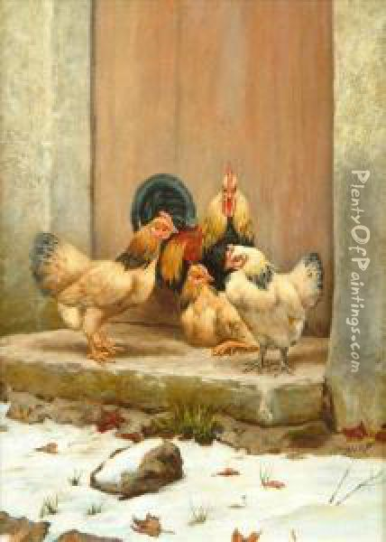 Fourchickens In Snow Oil Painting - William Baptiste Baird